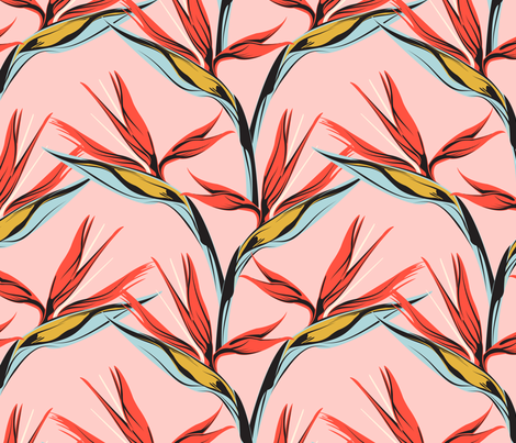 Bird of Paradise -pink fabric by lapetitelecour on Spoonflower - custom fabric