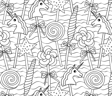 Coloring lollipops  fabric by lucybaribeau on Spoonflower - custom fabric