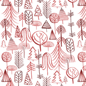 Christmas Tree Forest: Red and Green