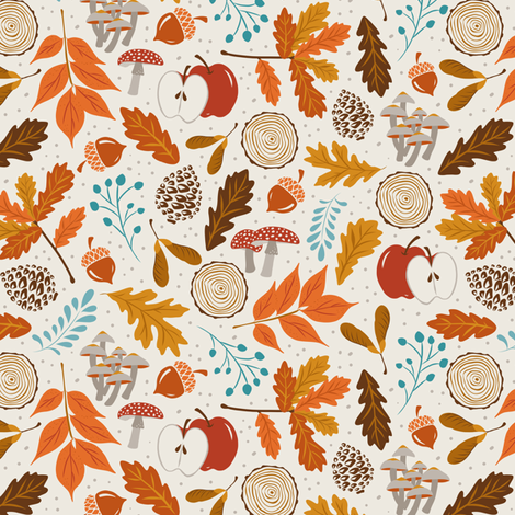 Autumn Woods - Smaller Scale fabric by heatherdutton on Spoonflower - custom fabric