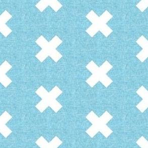 Linen light blue cross