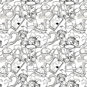 Tea Time and Cards Coloring Pattern