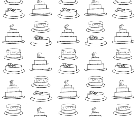 Three Cakes- Coloring Book Version fabric by essieofwho on Spoonflower - custom fabric