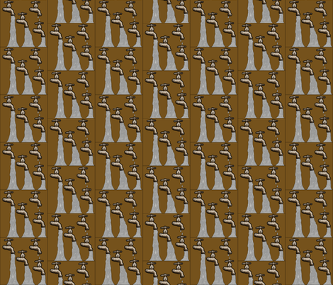 OB_11121_C Four Running Water Spigots on on Golden Rod Brown fabric by charlotte_donaldson_fabrics on Spoonflower - custom fabric