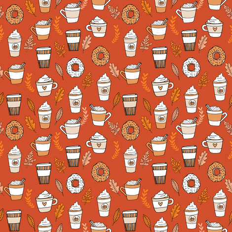 pumpkin spice latte fabric coffee and donuts fall autumn traditions rust - SMALL fabric by andrea_lauren on Spoonflower - custom fabric