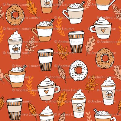 pumpkin spice latte fabric coffee and donuts fall autumn traditions rust - MINI