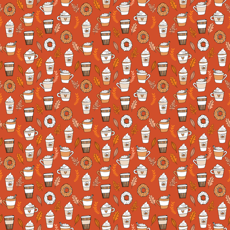 pumpkin spice latte fabric coffee and donuts fall autumn traditions rust - MINI fabric by andrea_lauren on Spoonflower - custom fabric