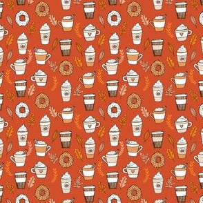 pumpkin spice latte fabric coffee and donuts fall autumn traditions rust - MINI