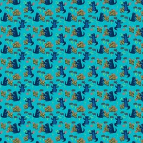godzilla // monster scary kids blue navy turquoise navy scary - MICRO