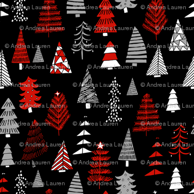 Christmas trees holiday fabric pattern black - MICRO