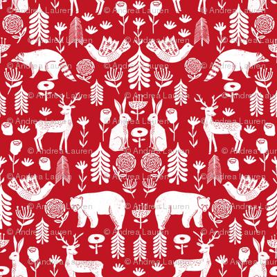 Christmas folk scandinavian winter holiday forest animals red - MICRO