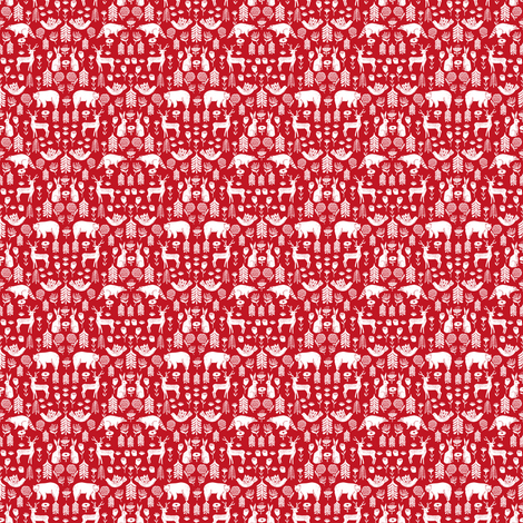 Christmas folk scandinavian winter holiday forest animals red - MICRO fabric by andrea_lauren on Spoonflower - custom fabric