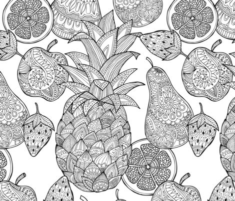 Doodle Fruit mania fabric by diseminger on Spoonflower - custom fabric