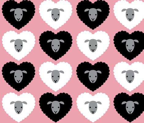 LoveEwePinkLargeScale fabric by beckarahn on Spoonflower - custom fabric