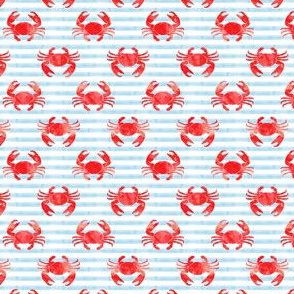 (small scale) crabs - red on blue stripes - nautical summer fabric watercolor