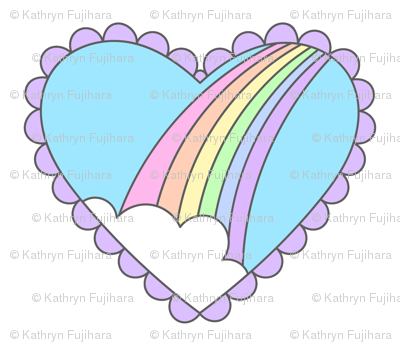 Rainbow Heart White-Small