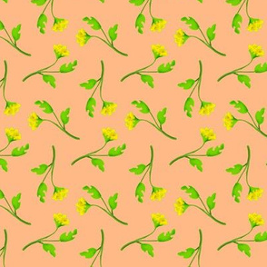 Retro Tossed Flower Sprigs Yellow on Peach