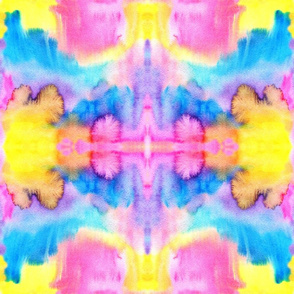 Neon watercolors kaleidoscope Fabric