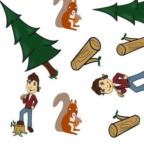 Lumberjack, Forrest, Squirrel and Log