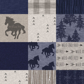 Horse Patchwork - Navy and Tan
