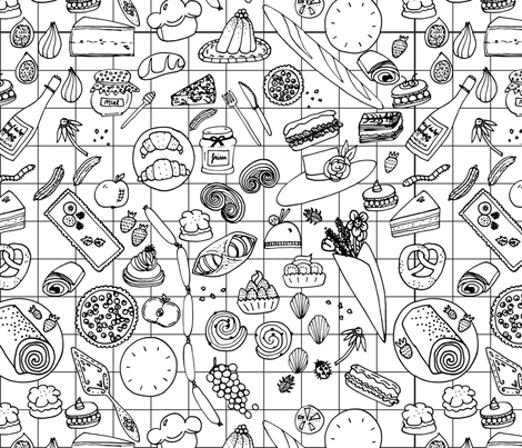A French Picnic fabric by hannahjadedesigns on Spoonflower - custom fabric