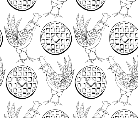 Chicken and Waffles 1 fabric by katie_hayes on Spoonflower - custom fabric