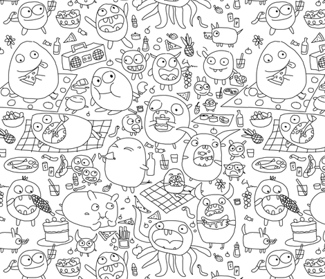 Monsters colouring in food frenzy by Mount Vic and Me fabric by mountvicandme on Spoonflower - custom fabric