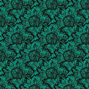 Peony scribble green