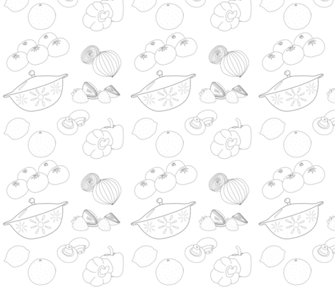 Food Frenzy Fruits Vegs Bakeware JGutierrez fabric by jackie's_designs on Spoonflower - custom fabric