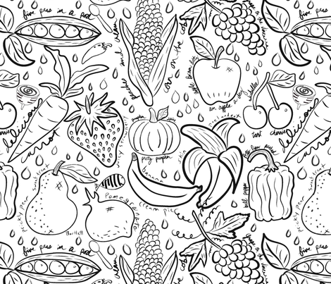 Food Sketchbook fabric by orangefancy on Spoonflower - custom fabric