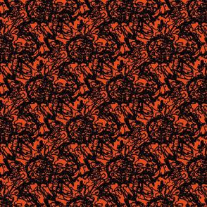 Peony scribble orange
