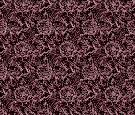 Peony maroon scribble fabric by littlebitartsy on Spoonflower - custom fabric