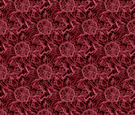 Peony scribble fabric by littlebitartsy on Spoonflower - custom fabric