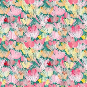 PAINTERLY FLORALS TEAL - small