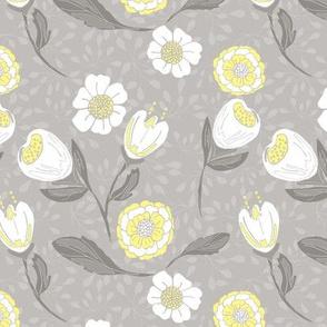 Spring garden in soft grey and lemon yellow