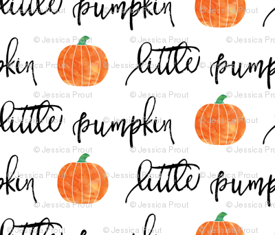 little pumpkin - halloween - white script