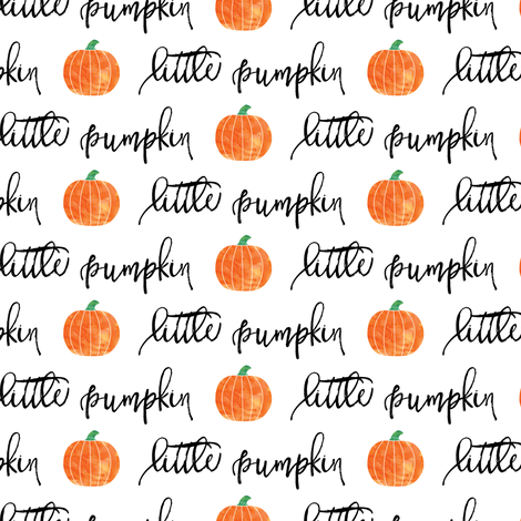 little pumpkin - halloween - white script fabric by littlearrowdesign on Spoonflower - custom fabric