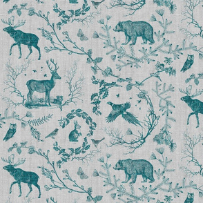 Winter Woodland Toile (teal, grey background)