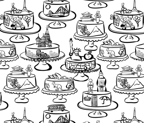 Cakes of the world fabric by jjdesignwithlove on Spoonflower - custom fabric