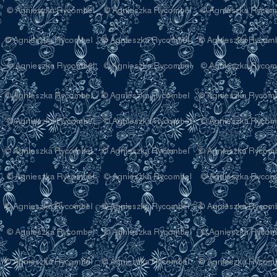 Flowerly Tiles in navy blue