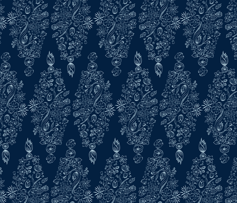 Flowerly Tiles in navy blue fabric by agnieszka_rycombel on Spoonflower - custom fabric