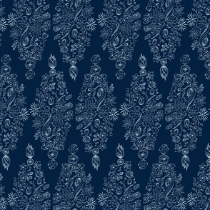 Flowerly Tiles in navy blue