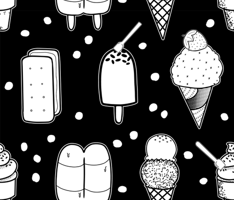 I <O ice cream fabric by popelephant on Spoonflower - custom fabric