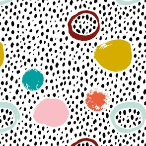 Circles rainbow dots and spots raw abstract brush strokes memphis scandinavian style mint pink mustard blue fall vintage girls