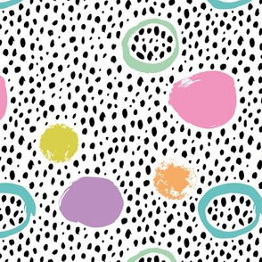 Circles rainbow dots and spots raw abstract brush strokes memphis scandinavian style mint pink mustard blue  multi color