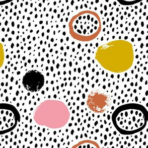 Circles dots and spots raw abstract brush strokes memphis scandinavian style girls copper mustard fall
