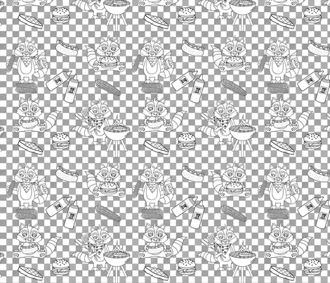 Raccoon BBQ fabric by rivlo on Spoonflower - custom fabric