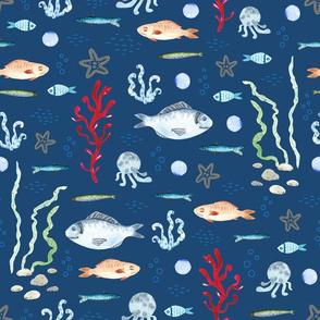 Fish Traffic (on dark blue)