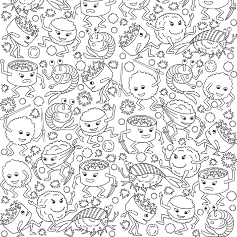 07826480 : kung fu sushi : outline fabric by sef on Spoonflower - custom fabric