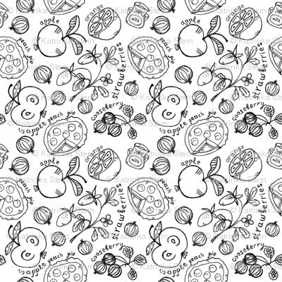 Black and white coloring. Fruits and berries, pies with milk